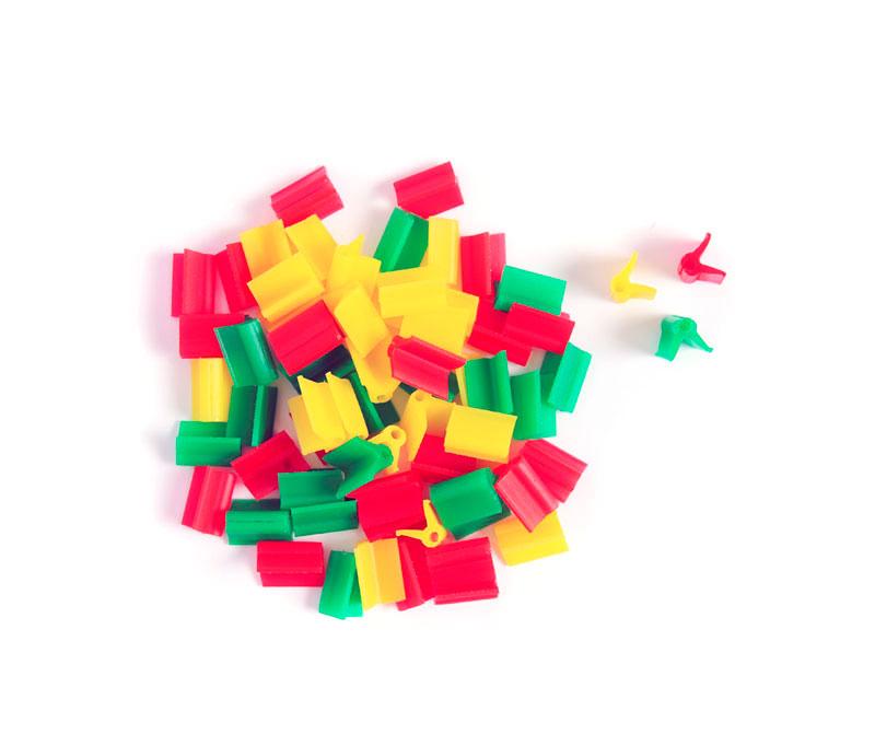 Pinza para injerto de colores rojo, verde y amarillo
